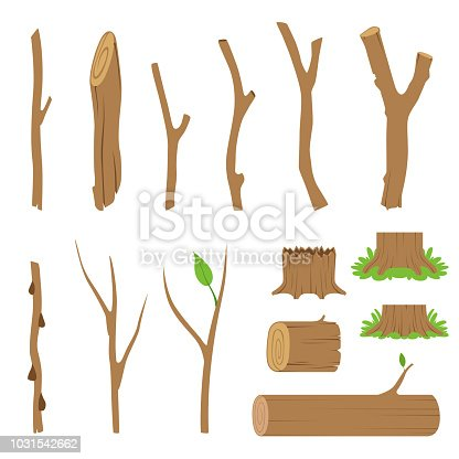 Hemp, logs, branches and sticks of forest trees. Vector cartoon illustration