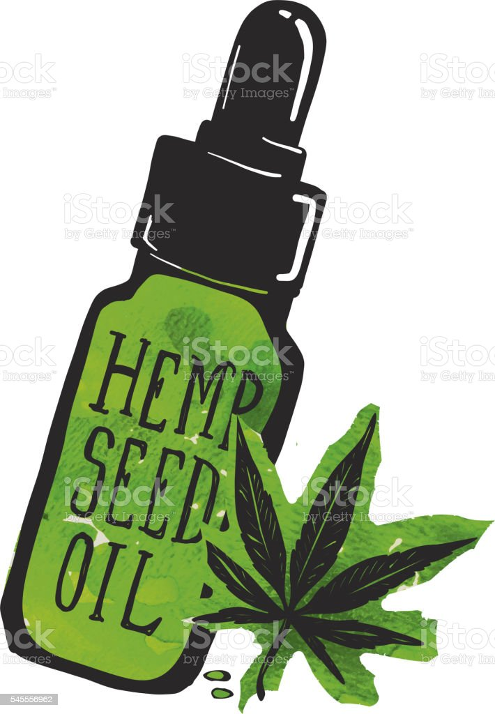 Hemp Seed Oil Label And Bottle With Marijuana Leaf Stock