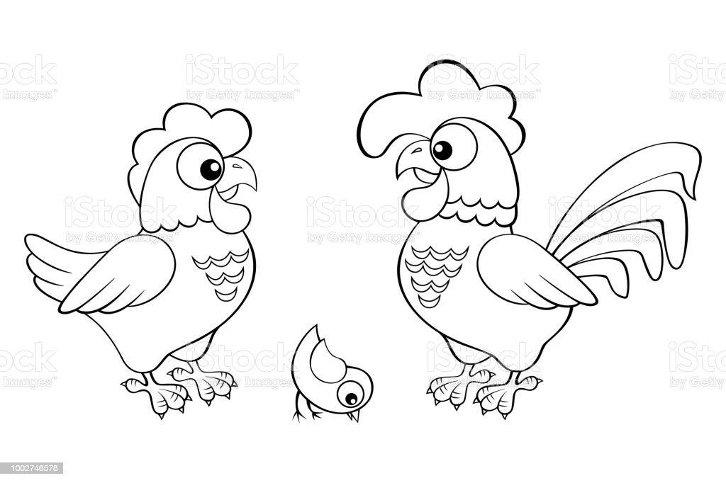 Tavuk Horoz Ve Piliç Boyama Kitabı Için Siyah Ve Beyaz Vektör çizim