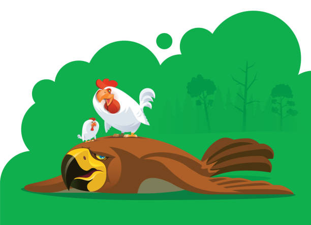 illustrazioni stock, clip art, cartoni animati e icone di tendenza di hen defeating eagle - china drug