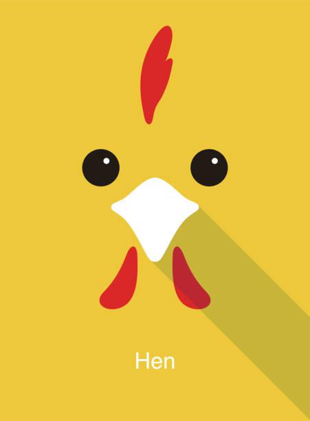 hen face flat icon design, vector illustration hen face flat icon design, vector illustration cockerel stock illustrations