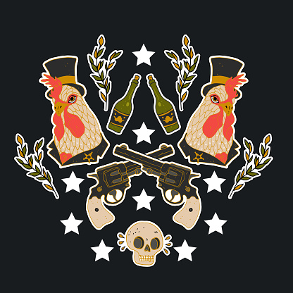 Hen, gun and skull. Print on tshirts and other materials. Set of stickers, pins, patches and handwritten notes collection in cartoon. Vector illustration