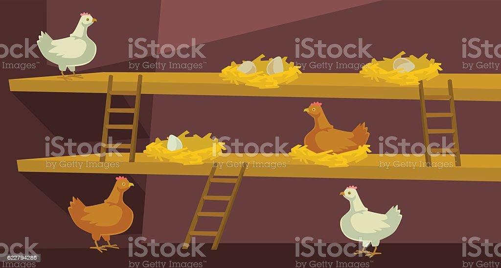 Hen house with chicken. Vector flat cartoon illustration vector art illustration