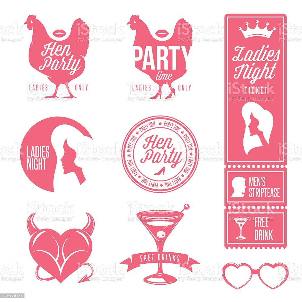Hen party design elements set. vector art illustration