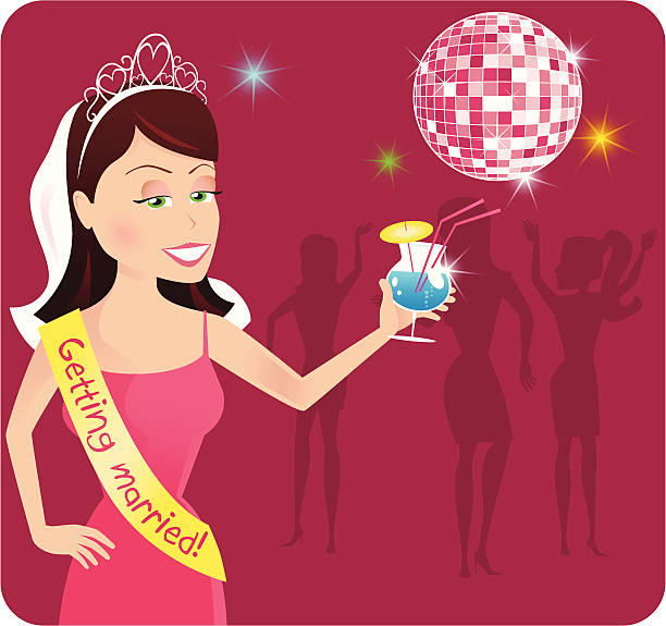 hen party in the disco - bachelorette party stock illustrations, clip art, cartoons, & icons