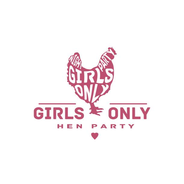 "hen party vintage label. hen silhouette with text ""girls only night party"" - bachelorette party stock illustrations, clip art, cartoons, & icons"