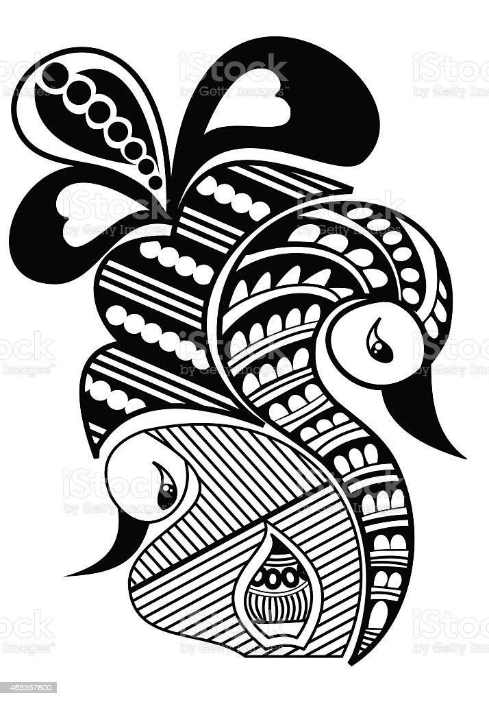 Henna Design Or Vector Flower Tattoo Design Line Art Illustration