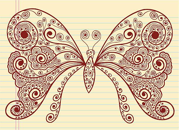 Henna Doodle Butterfly vector art illustration