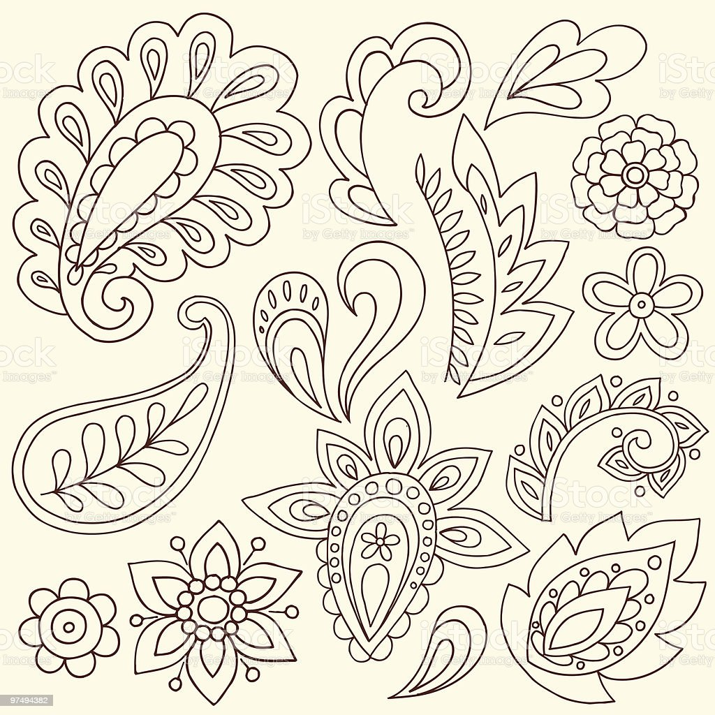Henna Doodle Paisley Design Elements royalty-free henna doodle paisley design elements stock vector art & more images of abstract