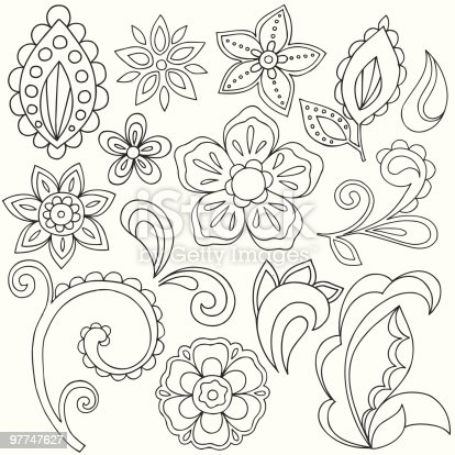 Henna Doodle Paisley Design Elements stock vector art