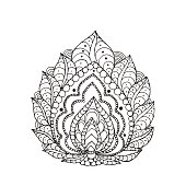 Henna doodle vector paisley flower