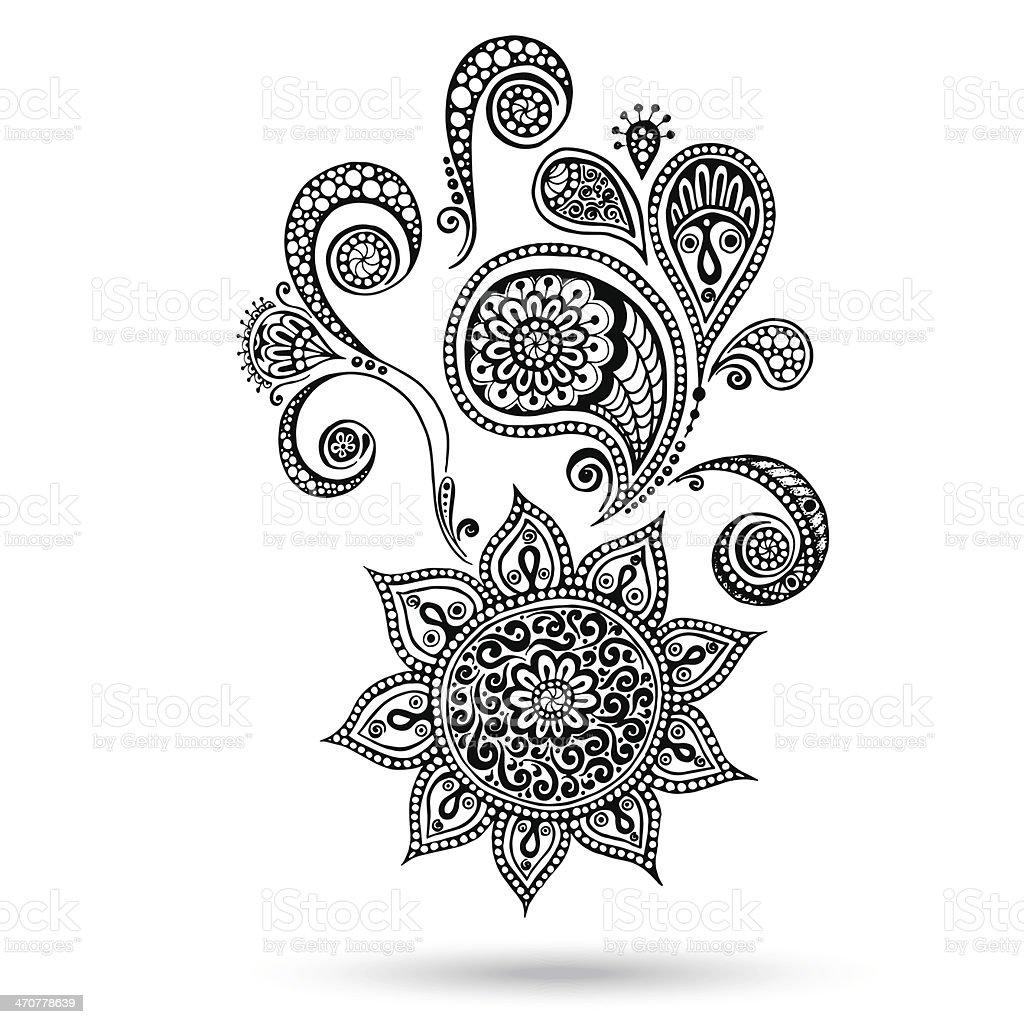 Henna Flowers And Paisley Mehndi Tattoo Doodles Stock Vector Art
