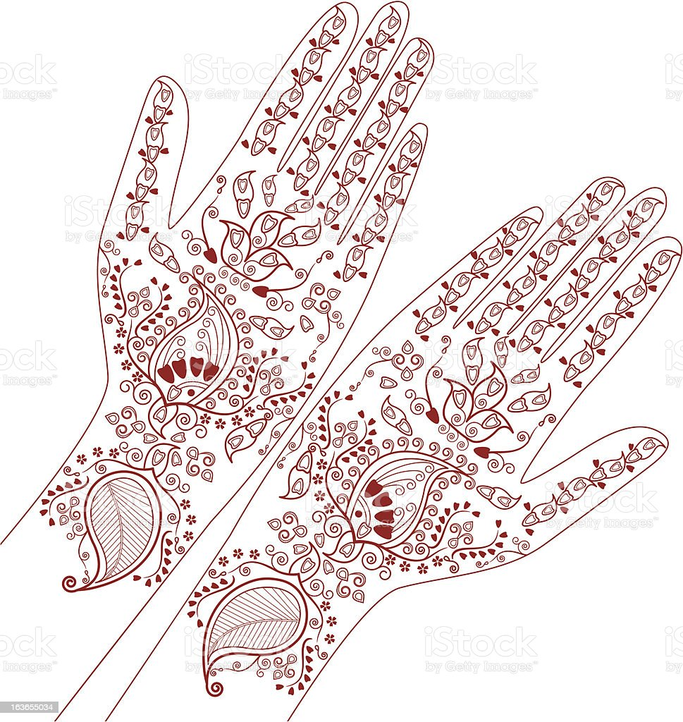 henna hand draw design royalty-free stock vector art