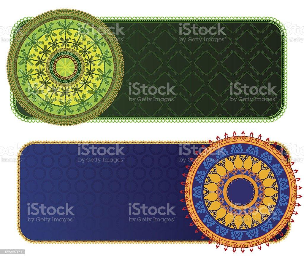 Henna Mandala Banners vector art illustration