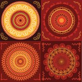Henna mandala design in warm colors