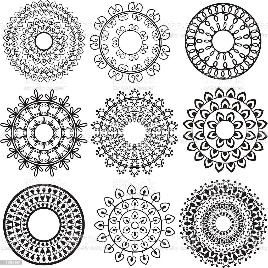 Henna Mandala designs vector art illustration