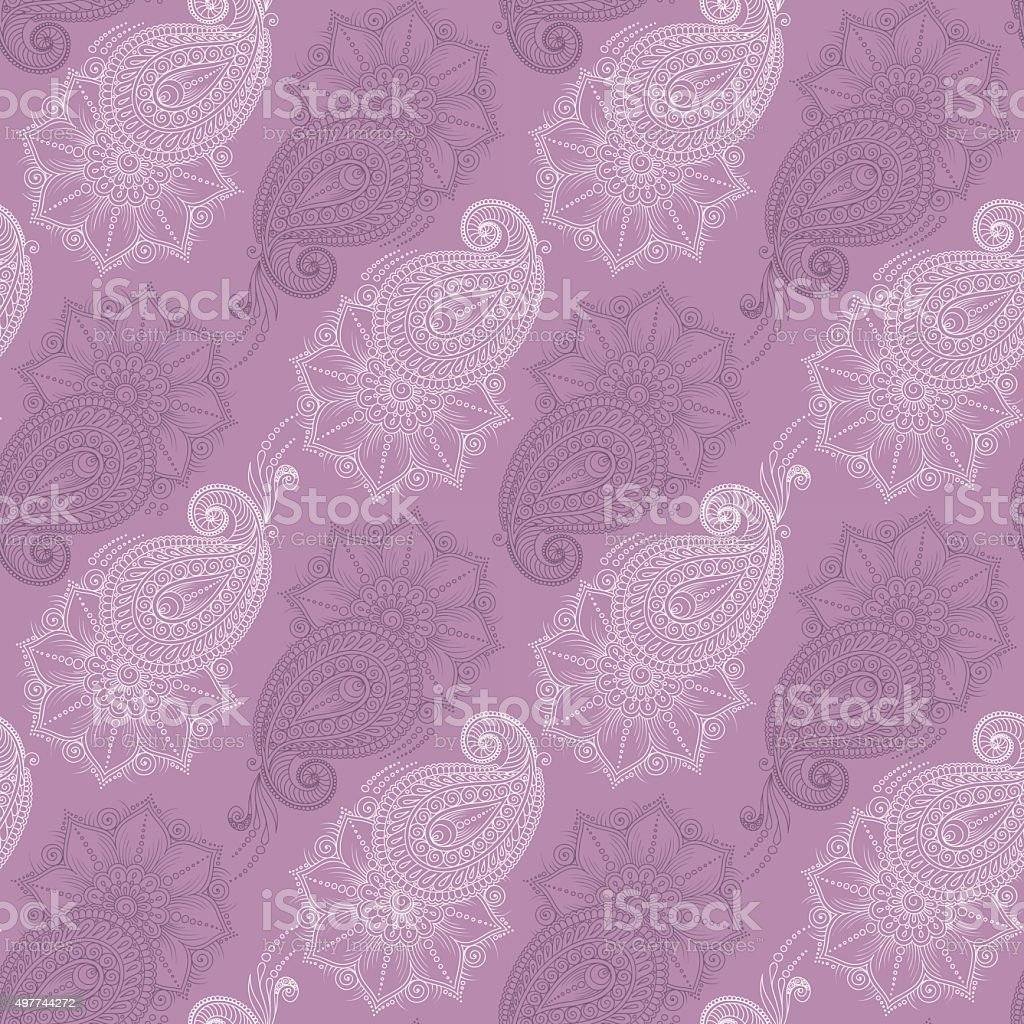 Henna Mehendytattoo Doodles Seamless Pattern Stock Vector Art More