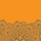 Henna Mehndi Card Template. Mehndi invitation design,  Element for decoration  cards, floral line art Paisley ornament