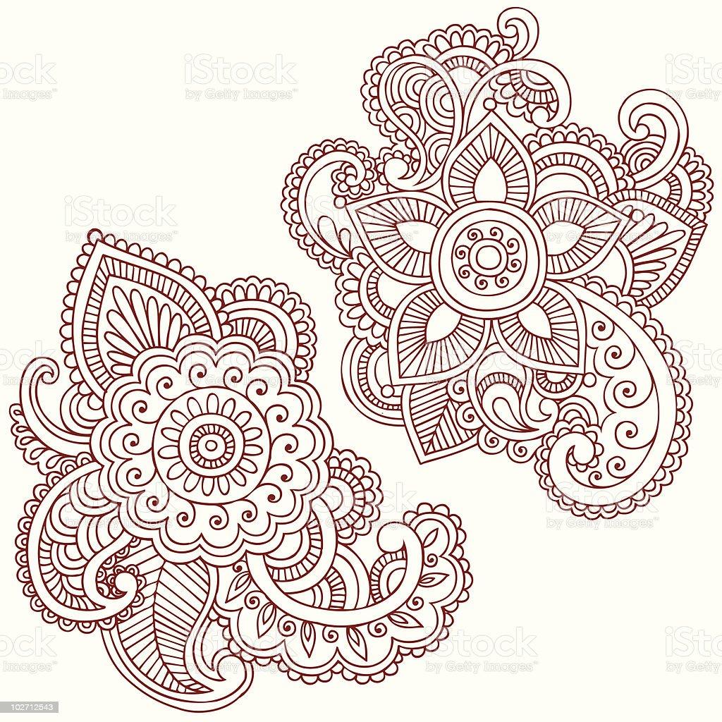 Henna mehndi doodle paisley design elements stock vector for Arts et decoration