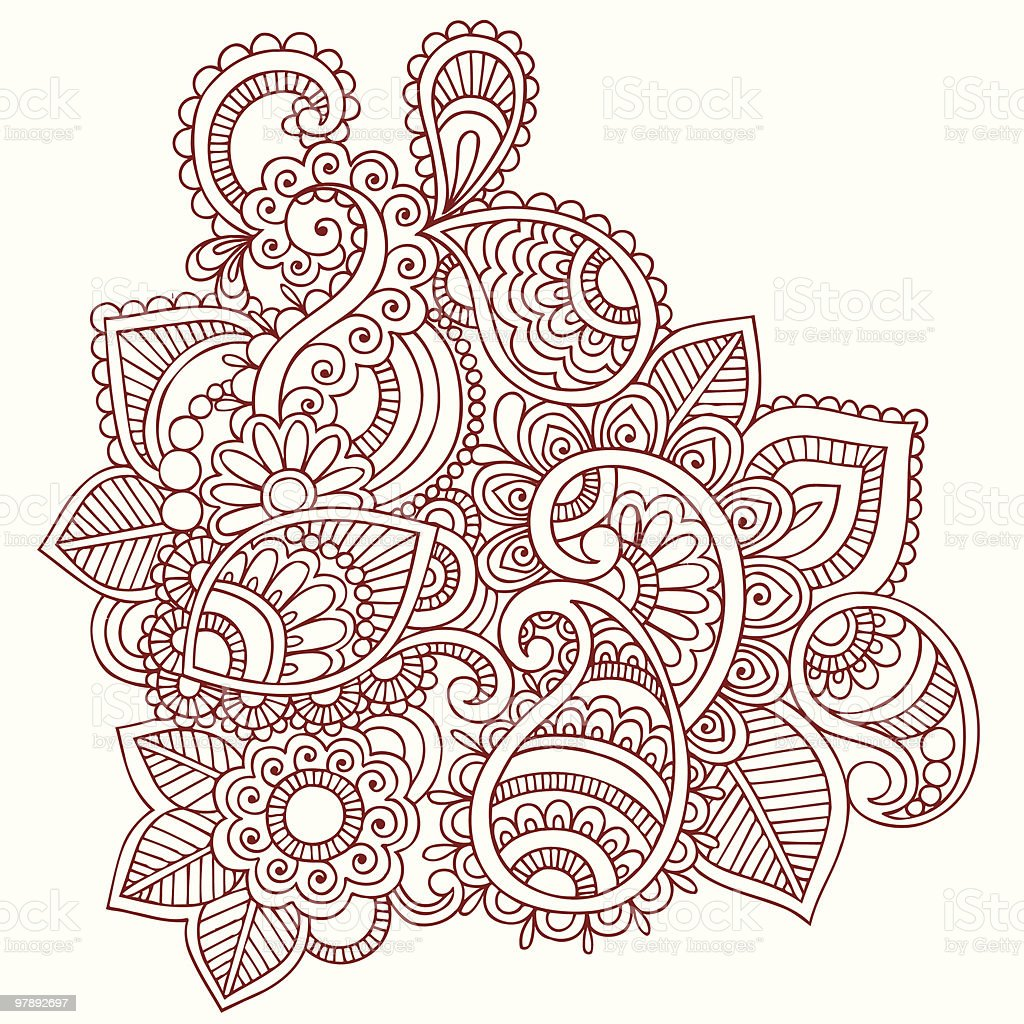 Henna Mehndi Doodle Paisley Design Elements royalty-free henna mehndi doodle paisley design elements stock vector art & more images of abstract