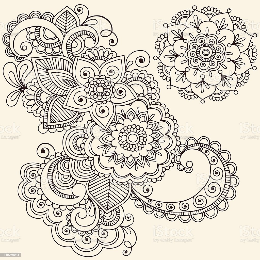 henna mehndi flowers and paisley doodle stock vector art more images of abstract 119079943. Black Bedroom Furniture Sets. Home Design Ideas