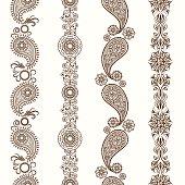 Henna borders. Mehndi ornamental henna seamless borders. Vector illustration