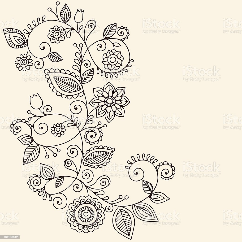 Henna Mehndi Paisley Flower Vine Doodle Stock Illustration