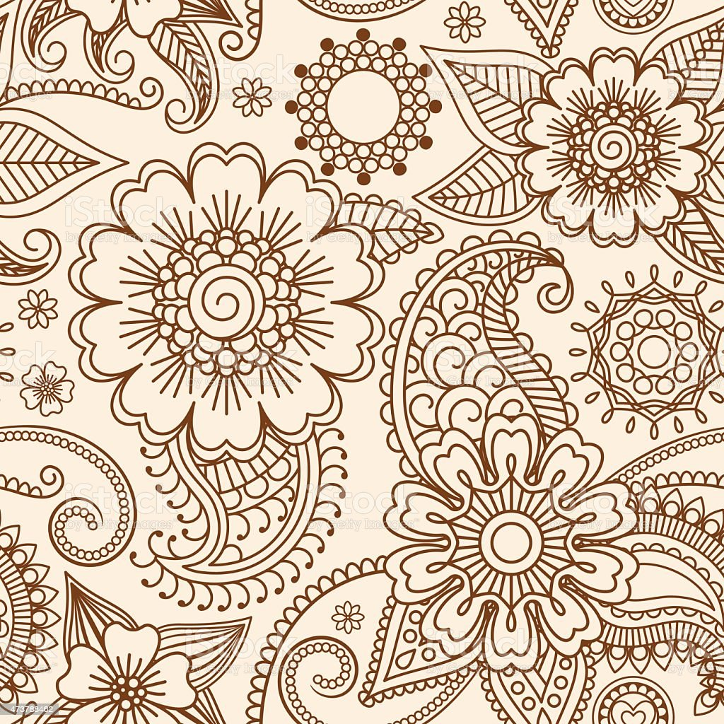 Henna mehndi seamless pattern vector art illustration
