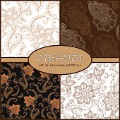 Henna Mehndi Tattoo Doodles Seamless Pattern Background Collecti