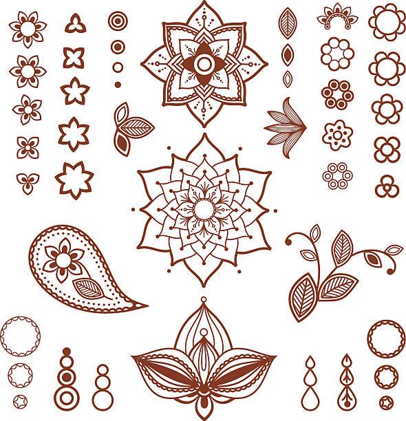 stockillustraties, clipart, cartoons en iconen met henna ornamental floral elements. mehndi style. - hennatatoeage