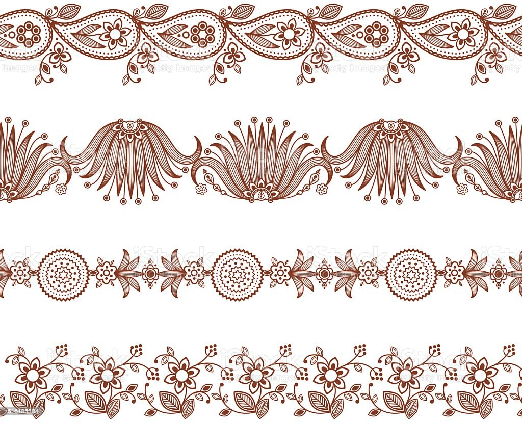Henna ornamental seamless borders. Mehndi style. vector art illustration