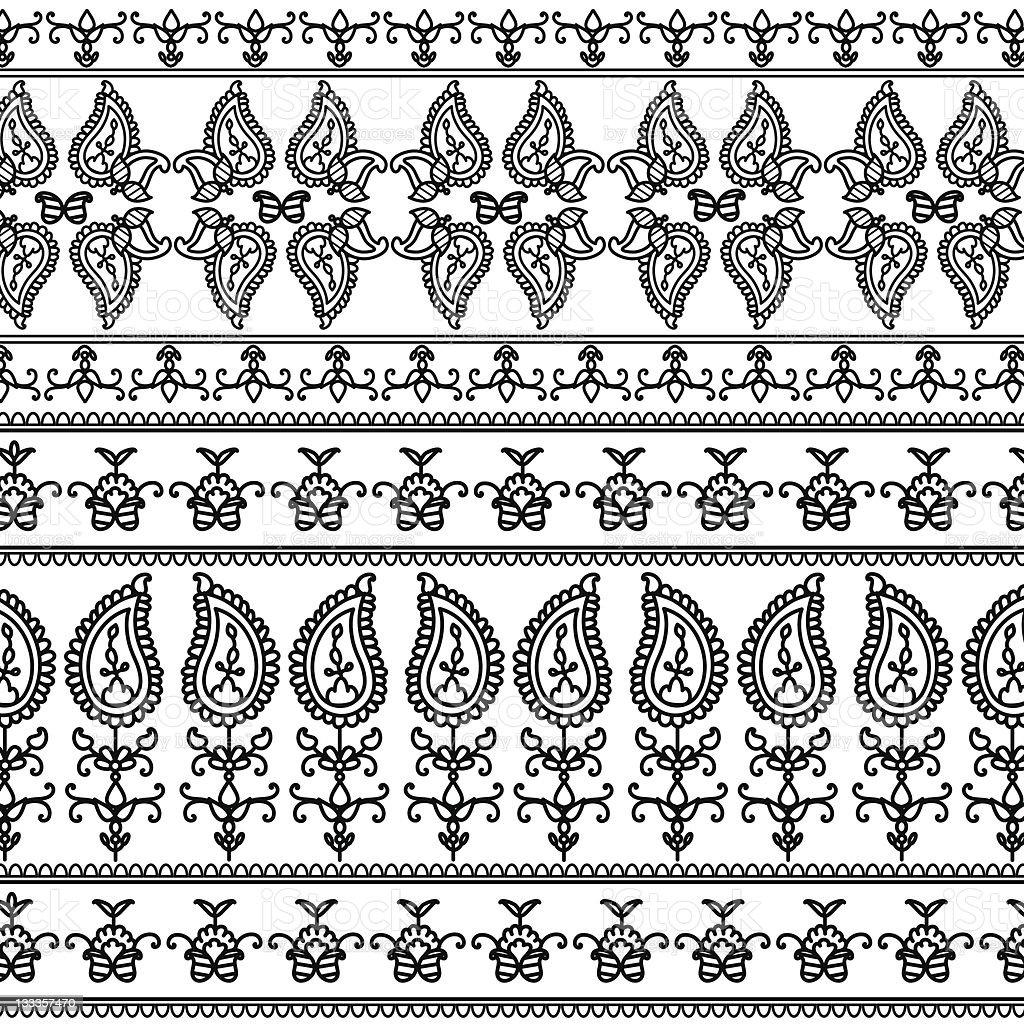 Henna Paisley Banners/Borders royalty-free stock vector art
