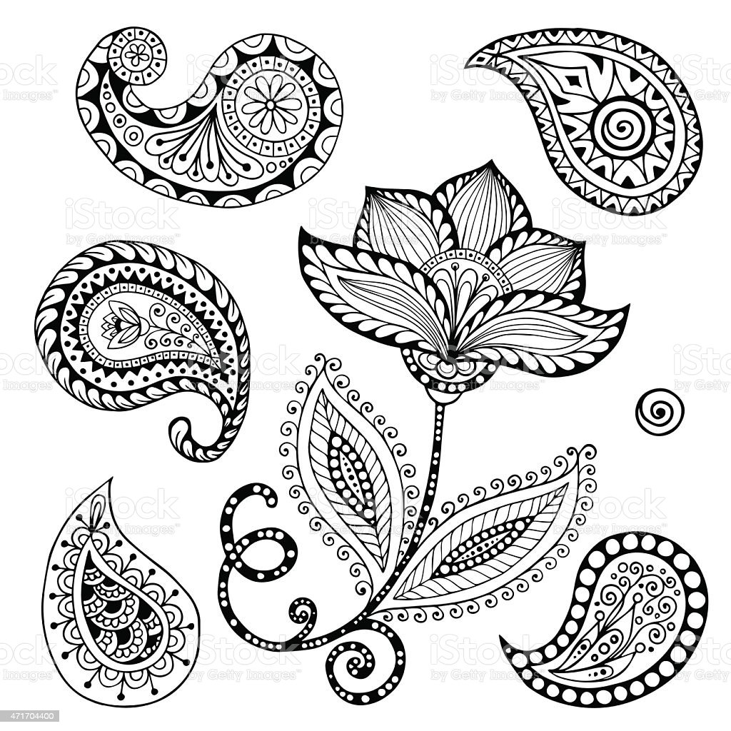 Henna Paisley Mehndi Doodles Abstract Floral Vector Illustration Design Element. vector art illustration