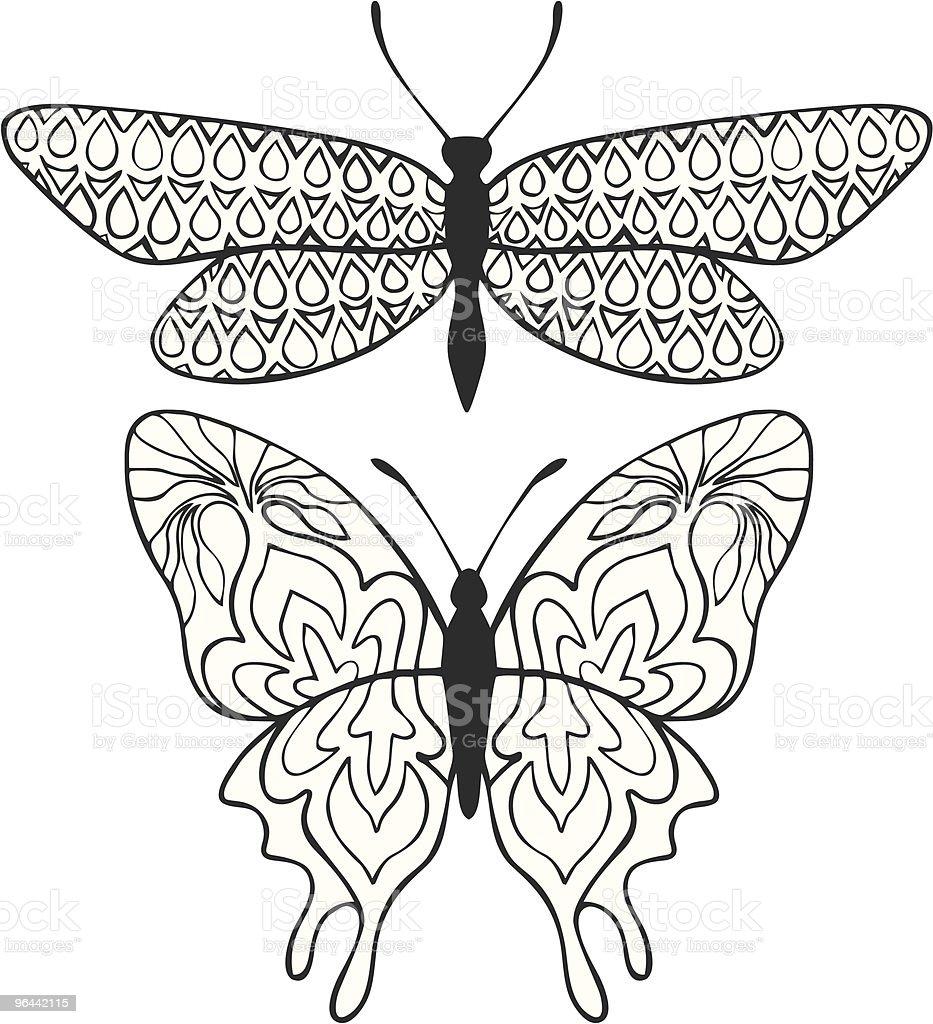Henna pattern butterflies - Royalty-free Animal Antenna stock vector