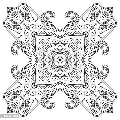 Ilustración de Mandala Del Tatuaje De Henna Estilo De Mehndi Patrón ...