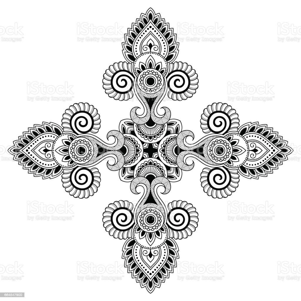 Henna Tattoo Mandala Mehndistil Dekorative Muster Im Orientalischen ...