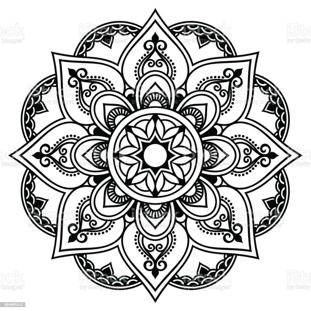 Mandala Tattoo Kleurplaten.Henna Tattoo Mandala Mehndi Stijl Decoratief Patroon In Oosterse