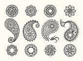Henna tatoo paisley icons set. Mehndi henna high quality ornamental elements. Vector henna mehndi