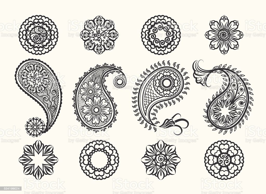 Henna tatoo paisley icons set vector art illustration