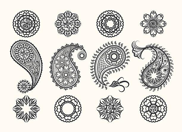 stockillustraties, clipart, cartoons en iconen met henna tatoo paisley icons set - hennatatoeage