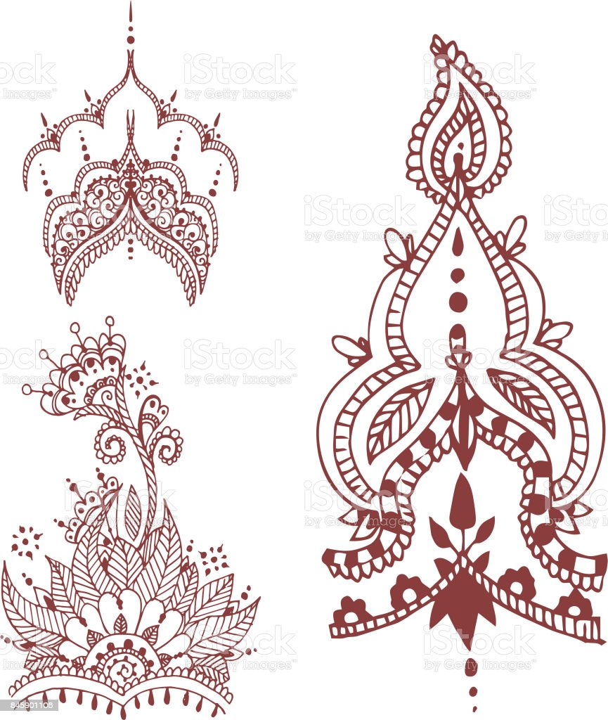 Henna Tattoo Brown Mehndi Flower Doodle Ornamental Decorative Indian