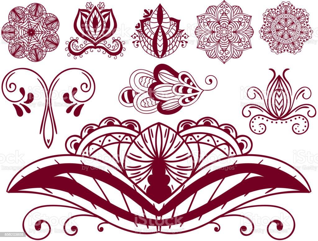 Hennatattoo Braun Mehndi Blume Doodle Ornamentalen Dekorative