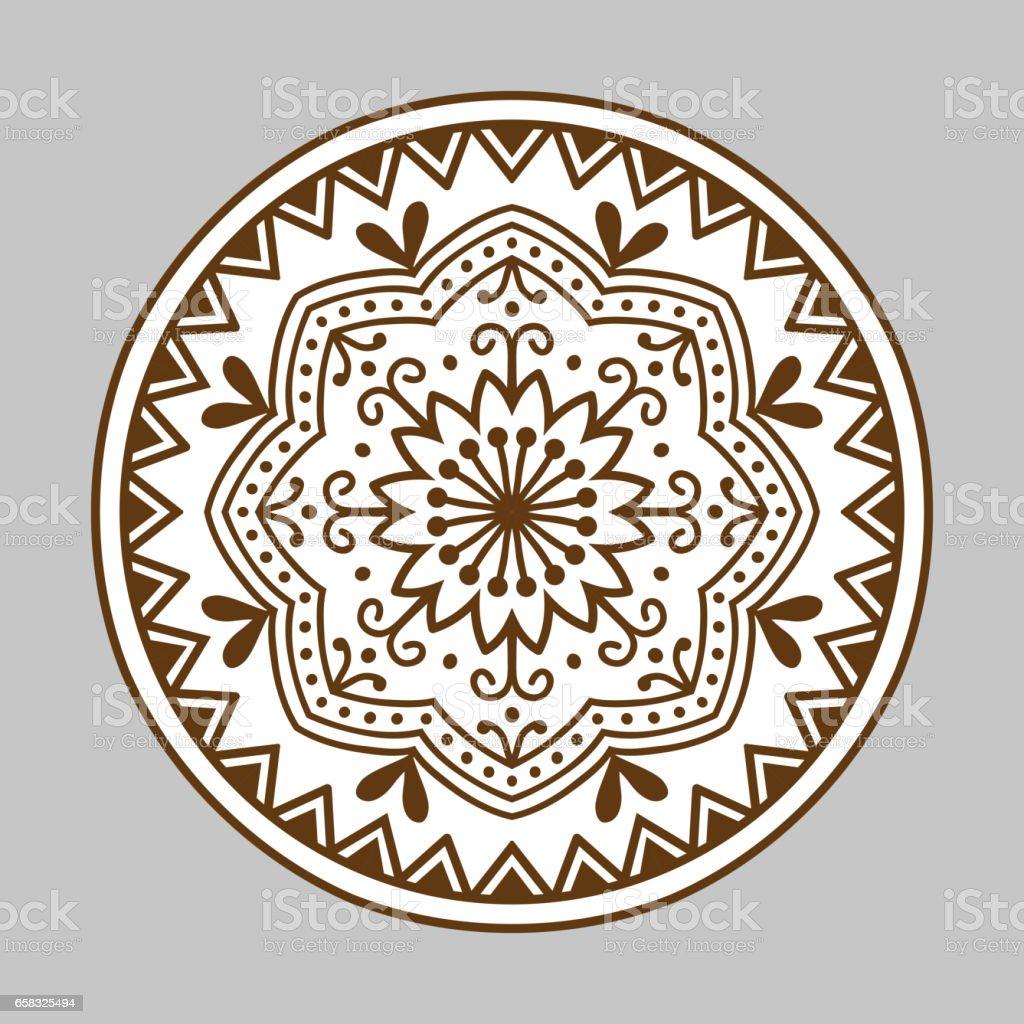 Henna Tattoo Mehndi Braun Blume Vorlage Doodle Ornamentale Spitze
