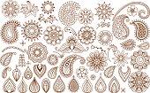 Henna tattoo doodle elements