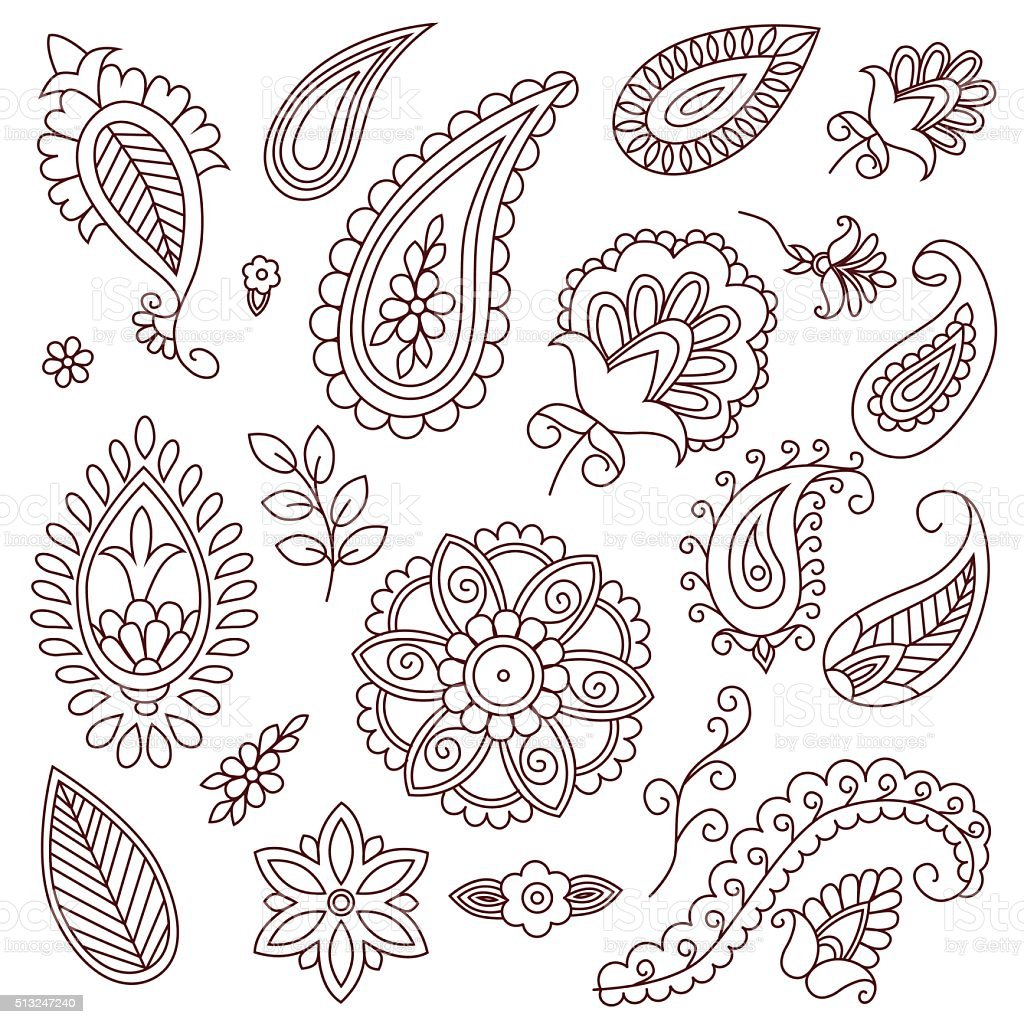 Henna Tattoo Doodle Vector Elements On White Background Stock Vector