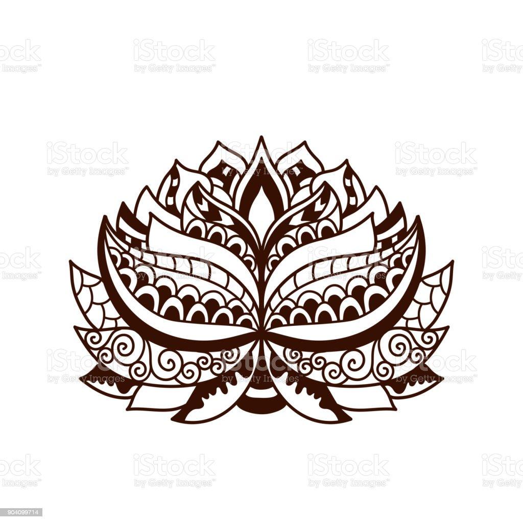 Henna Tattoo Doodle Vector Lotus Flower Stock Vector Art More