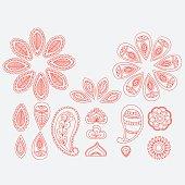 Henna tattoo floral doodle design elements, indian line art mehndi white background