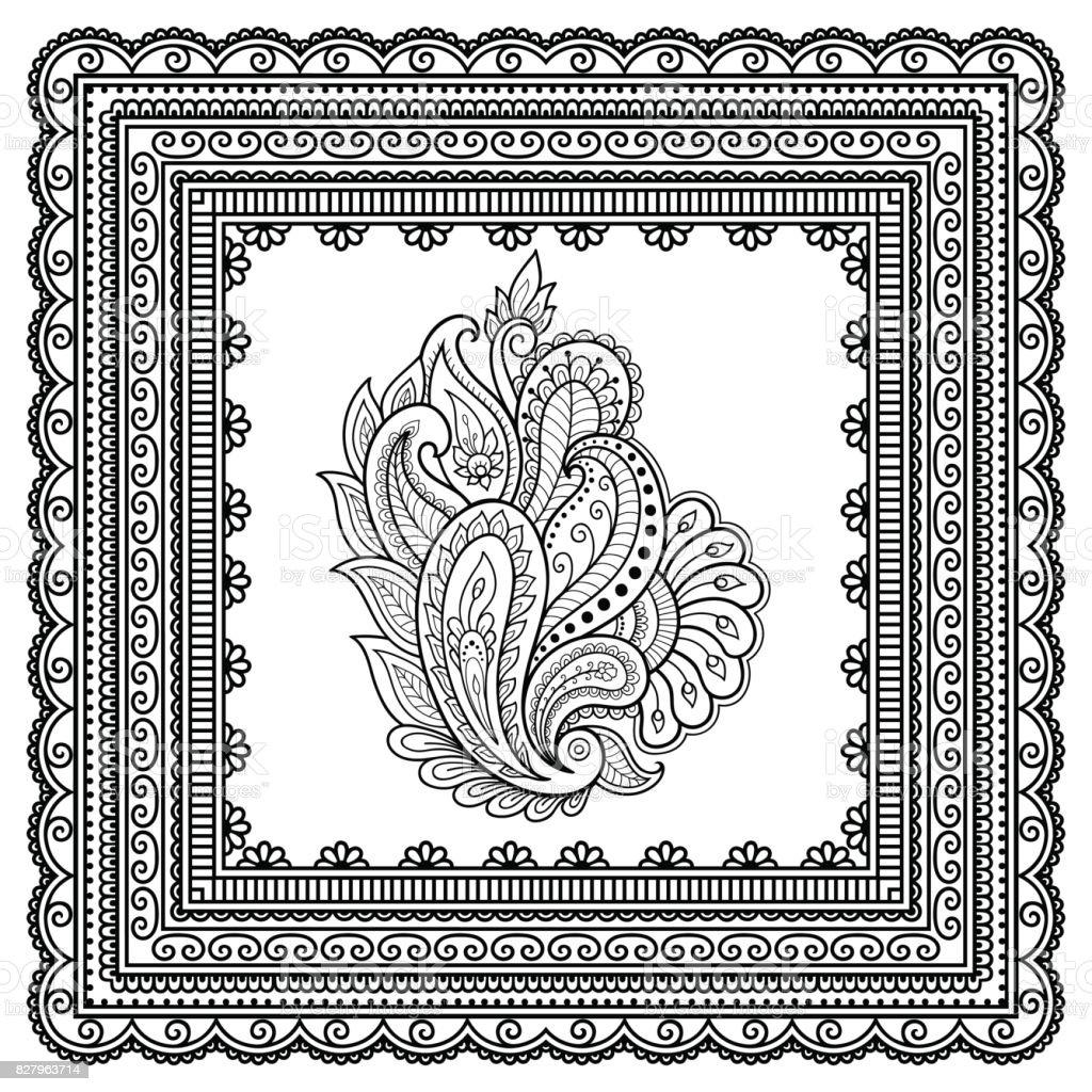 Modele De Fleur Tatouage Au Henne Et Le Cadre A Motifs Mehndi Style Ensemble Des Motifs Ornementaux Dans Le Style Oriental Vecteurs Libres De Droits Et Plus D Images Vectorielles De Abstrait