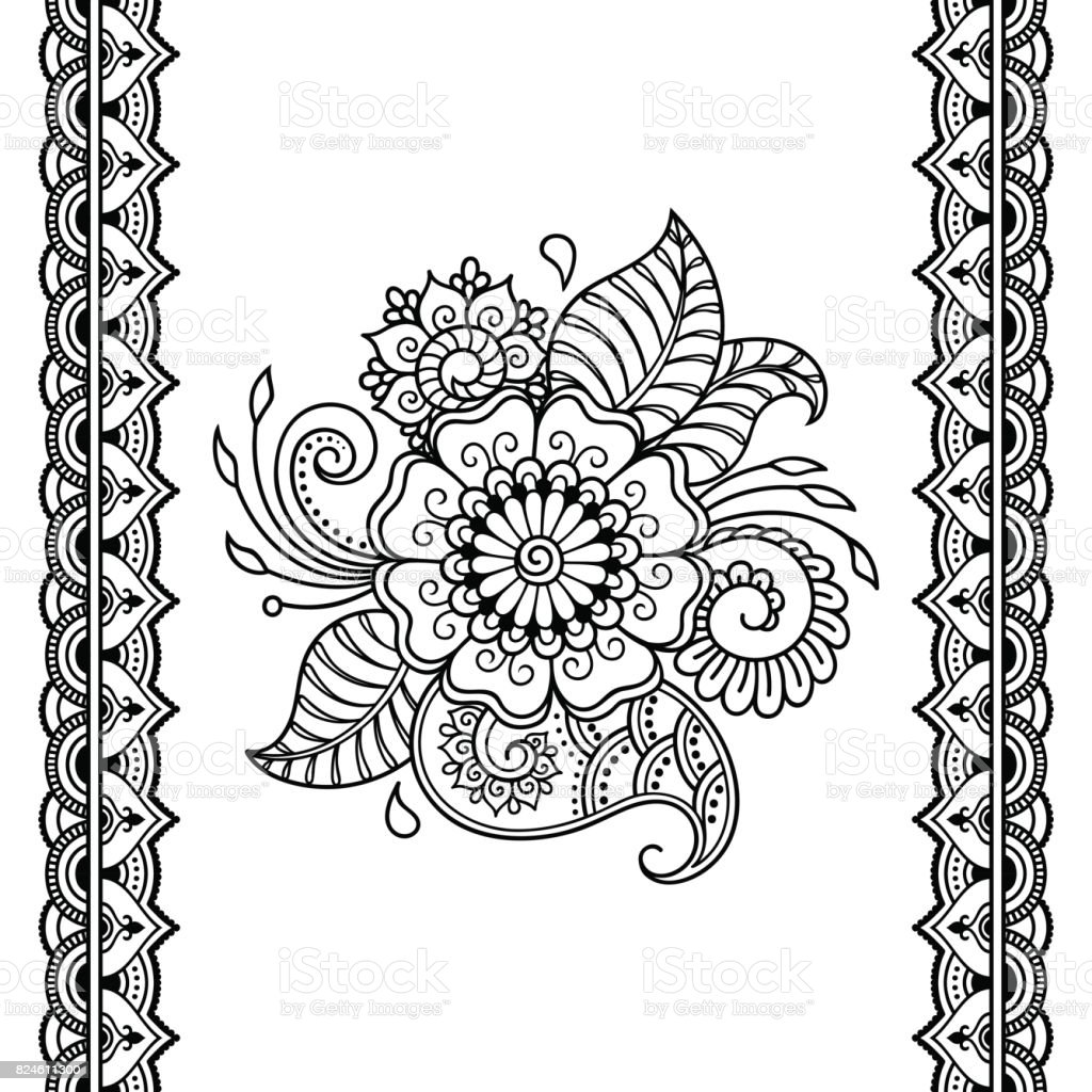 bb7fcf84d Henna tattoo flower template and seamless border. Mehndi style. Set of  ornamental patterns in the oriental style. - Illustration .