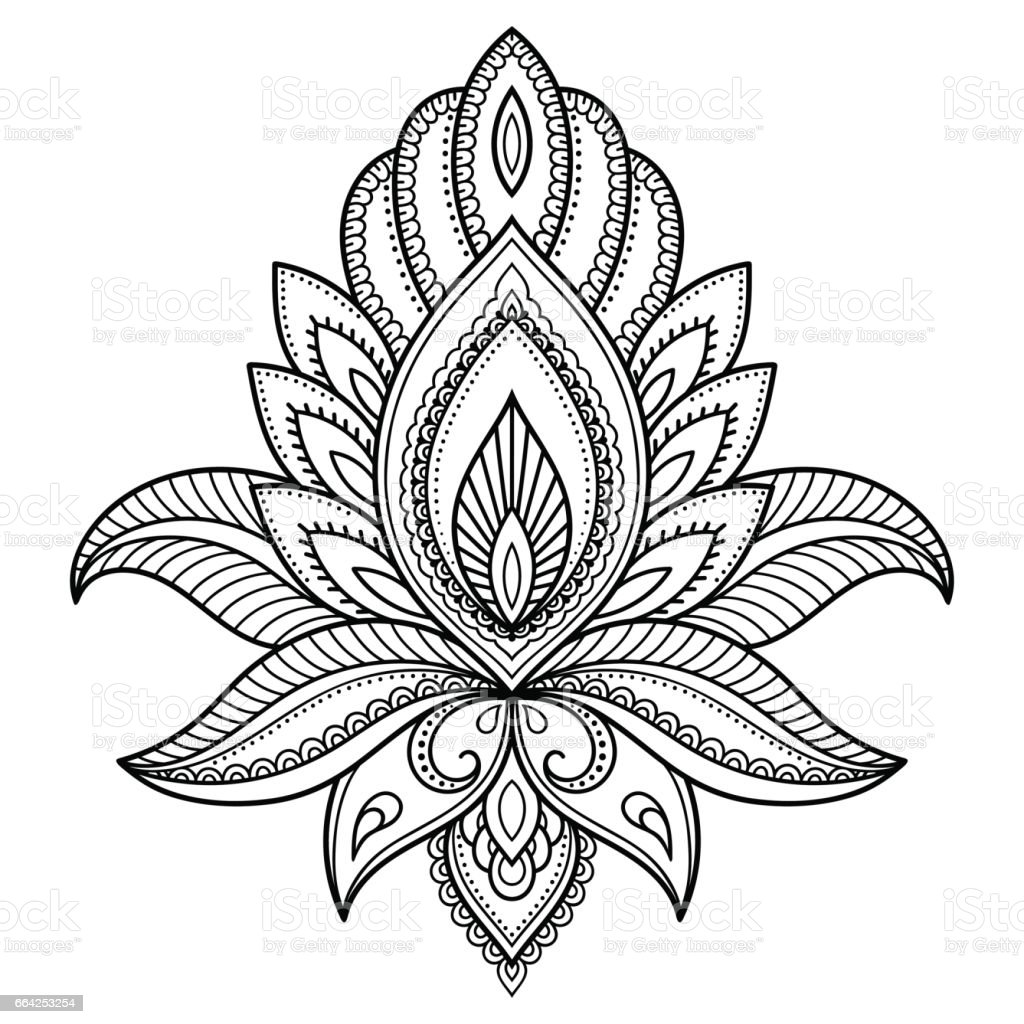 Henna tattoo flower template in indian style ethnic floral paisley henna tattoo flower template in indian style ethnic floral paisley lotus mehndi style pronofoot35fo Choice Image